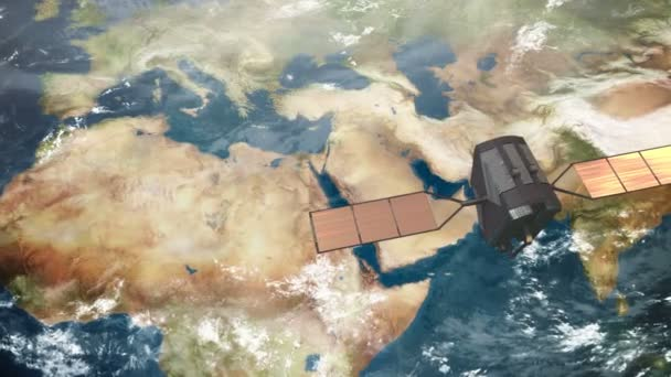 A spy satellite in orbit above the Middle East.