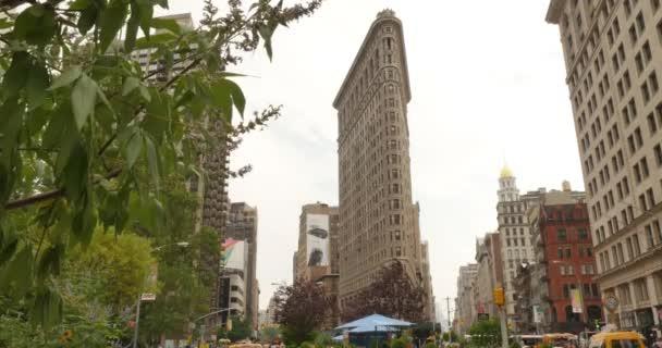 NEW YORK CITY - Circa July, 2014 - An establishing shot of the historical Flatiron Building in Manhattan, New York.