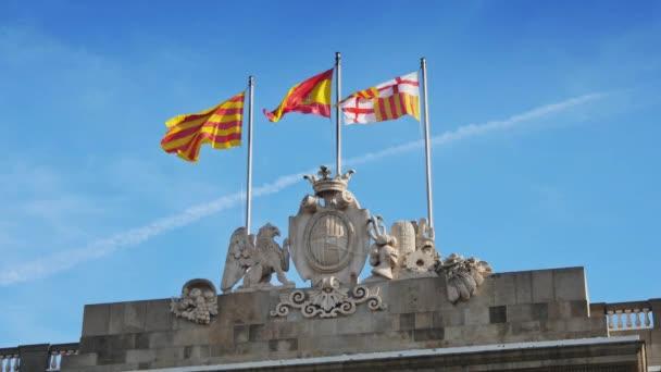 Catalonia, Barcelona, and Spanish flags