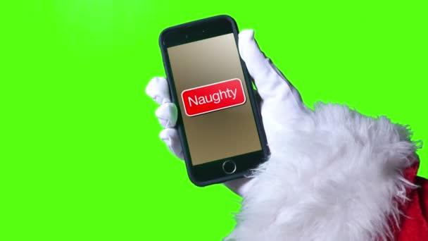 Santa Claus tlačí zlobivý tlačítko na smartphone