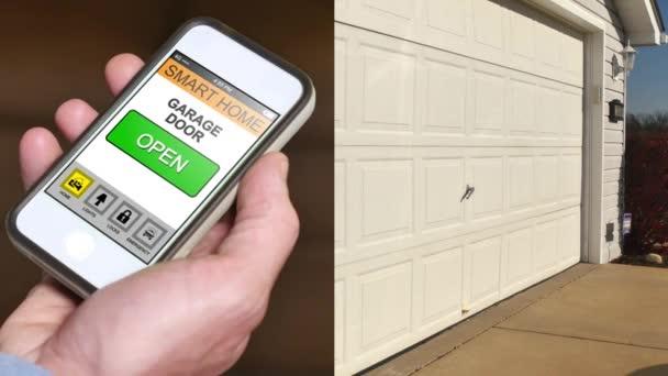 Složený záběr muže otevřít dveře garáže vzdáleně s smartphone app