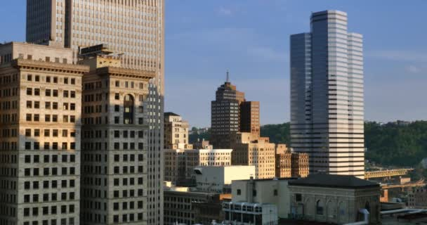 Establishing Shot of Pittsburgh Skyline at Dusk