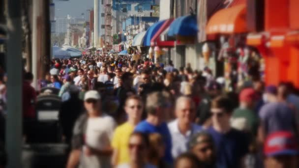 Slow Motion Crowd of People on Venice Beach Boardwalk