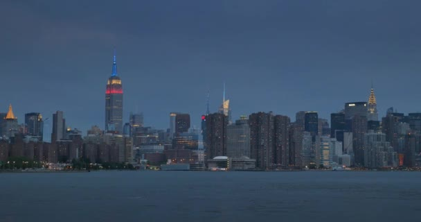 An evening establishing shot of the skyline of Manhattan as seen from the East River.