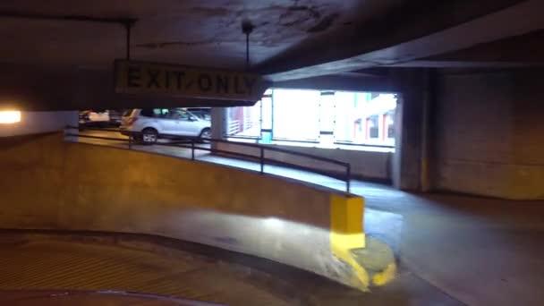 POV Driving Down Parking Garage Exit Ramp