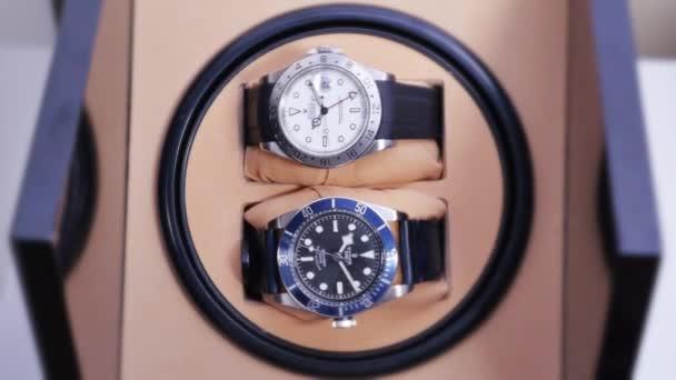 Δύο πολυτελείς ρολόγια περιστροφή στην αυτοματοποιημένη κουρδιστήρι– πλάνα  αρχείου 5c6caff01cb