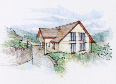 Illustration of a architect dream house.