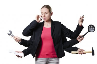 Blonde woman multitasking on a white background