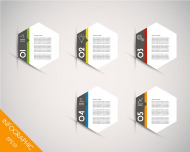 colorful infographic hexagonal stickers