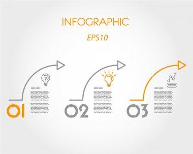 Three orange arcs. infographic concept. stock vector