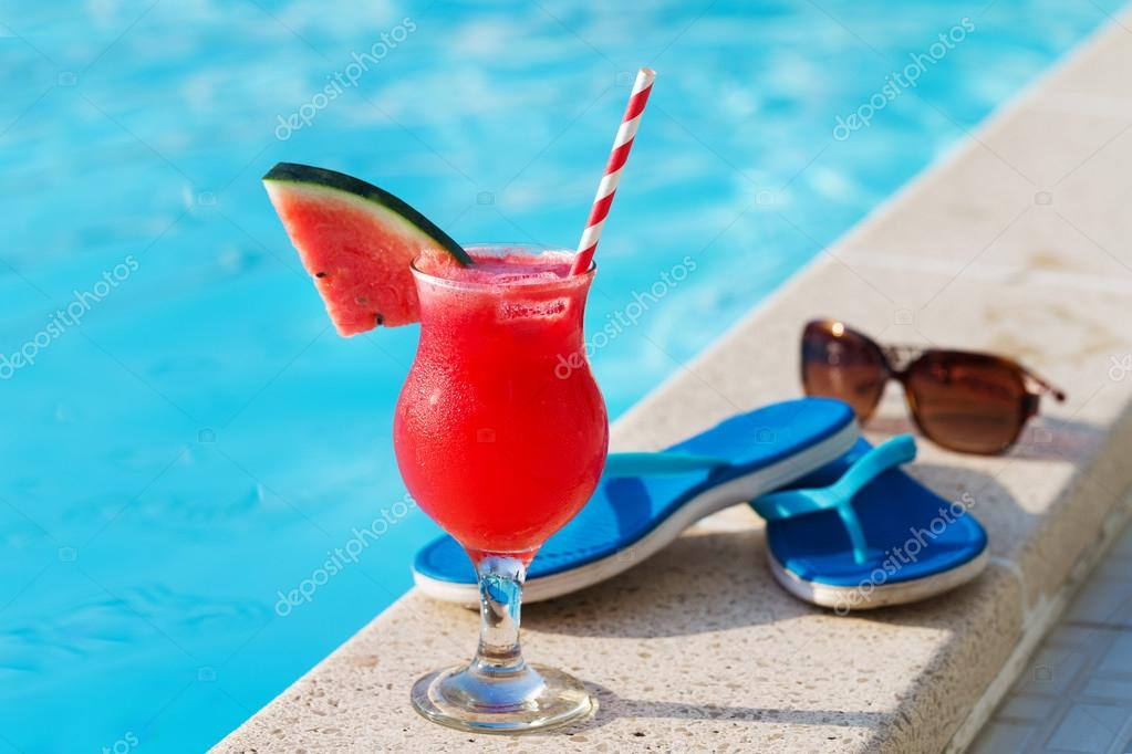 Water melon fresh juice smoothie drink near swimming pool stock photo annamoskvina 123696568 How to make swimming pool water drinkable