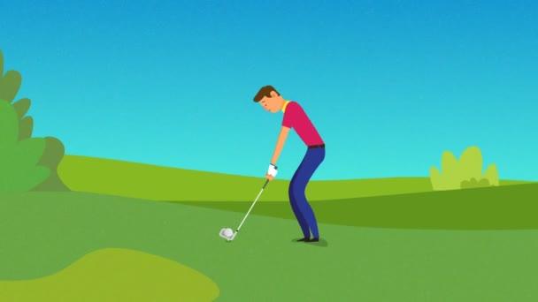 Mladý golfista odpaluje míček, golfový míček jde do jamky na golfovém hřišti. Muž, sport, golfový turnaj v country klubu během letních prázdnin, vítězný tah animace.