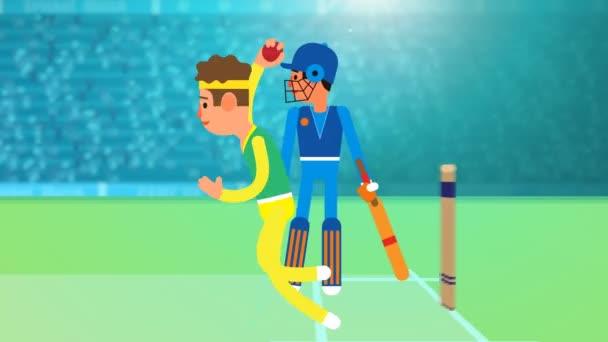 Cricket-Spiel zwischen zwei Teams Australien gegen England in einem Stadion bei Nacht mit Flutlicht, jubelndem Publikum - Cricket-Promo, Cricket-Intro