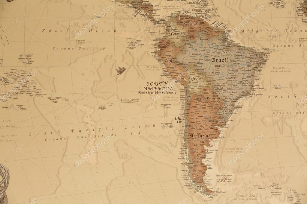 Ancient Geographic Map Of South America Stock Photo C Stefanocapra