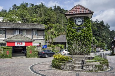 Fraser Hill, Malaysia - Jun 10, 2016: Famous landmark of Clock Tower at Fraser Hill, Malaysia. Fraser Hill is a colonial era hill station founded by Scotsman Louis James Fraser in the 1890s.