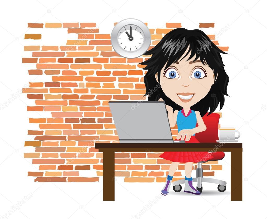 Mujer Trabajando En Una Ilustración De Vector De