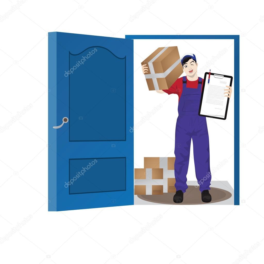 Delivery Man At Front Door Cartoon Vector Stock Vector Kozzi2