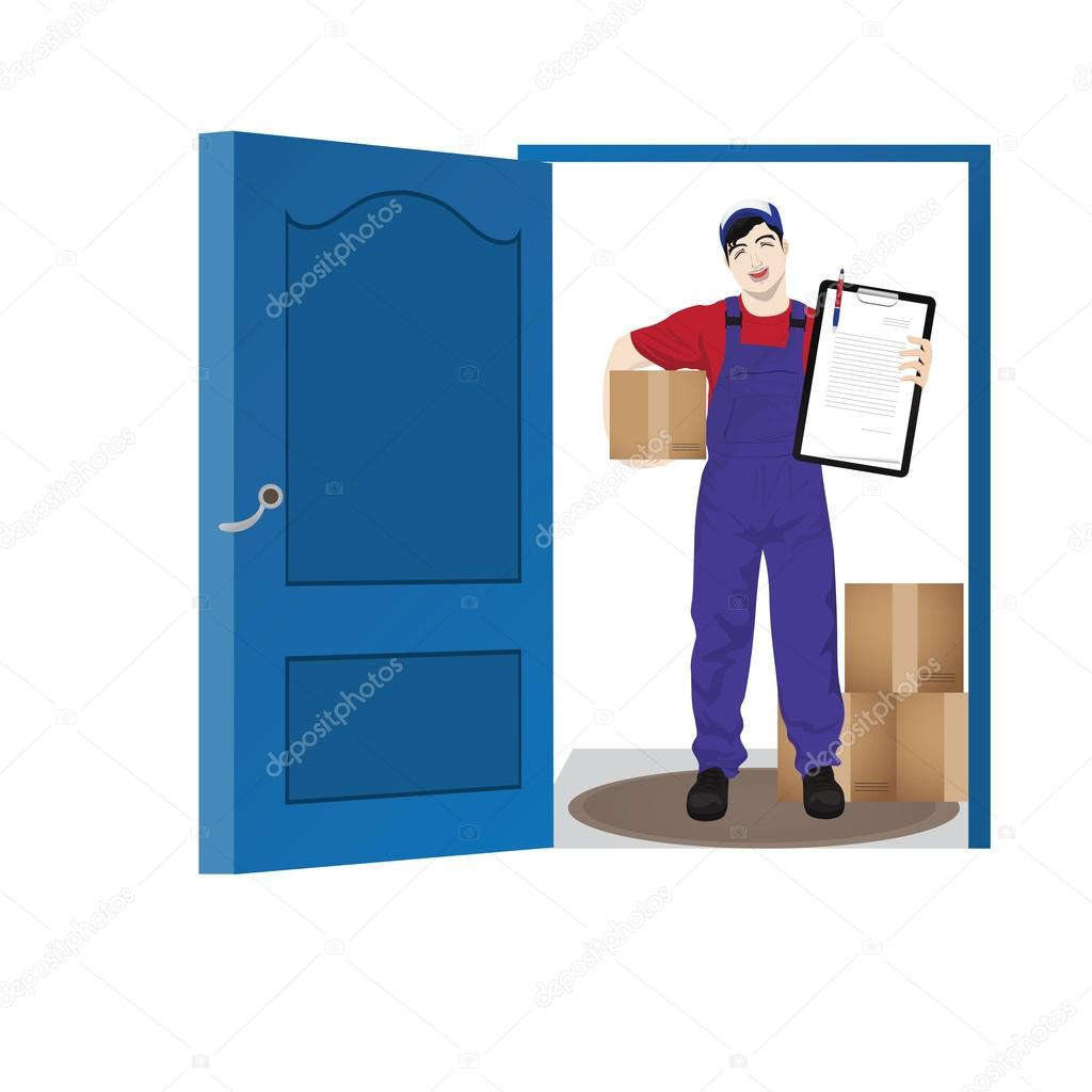 Delivery Man At Front Door Cartoon Vector Stock Vector Kozzi2