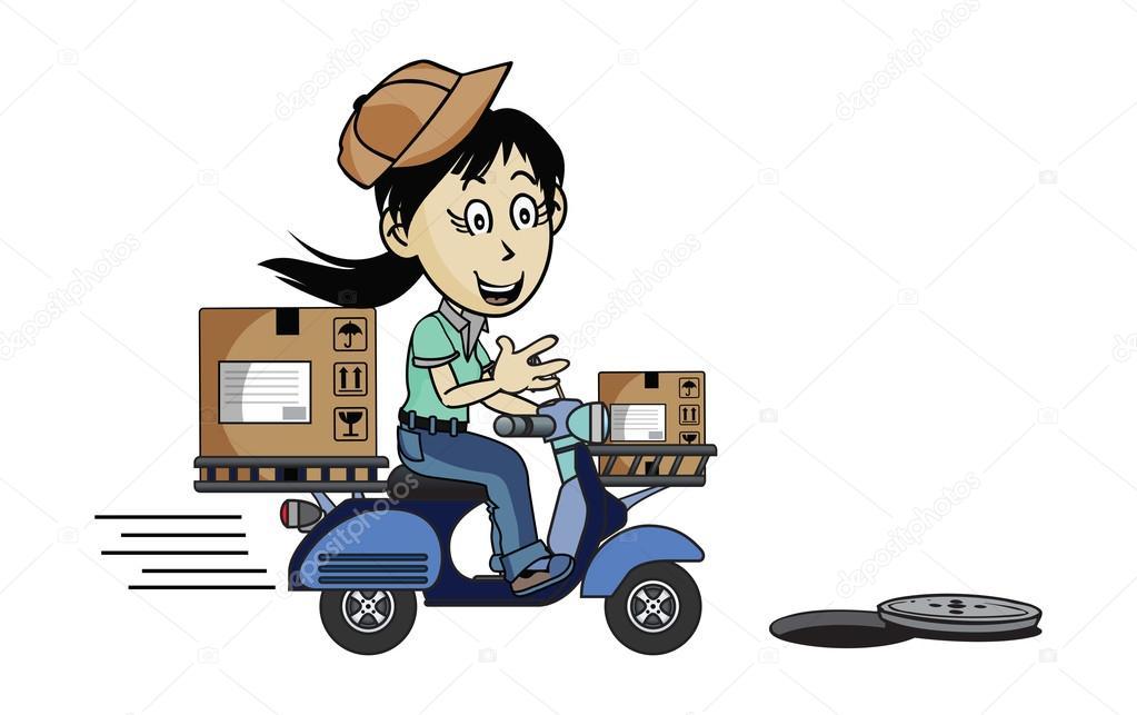 Repartidor en moto — vector de stock kozzi
