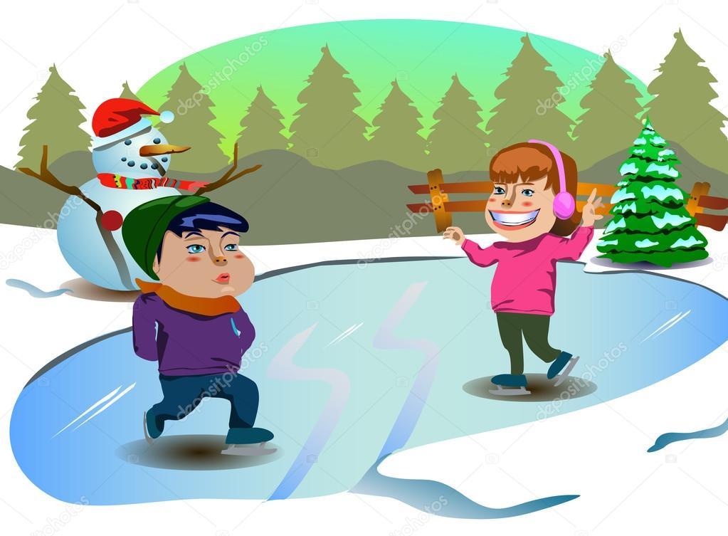 ice skating kids christmas clip-art — Stock Vector © kozzi2 #108183456
