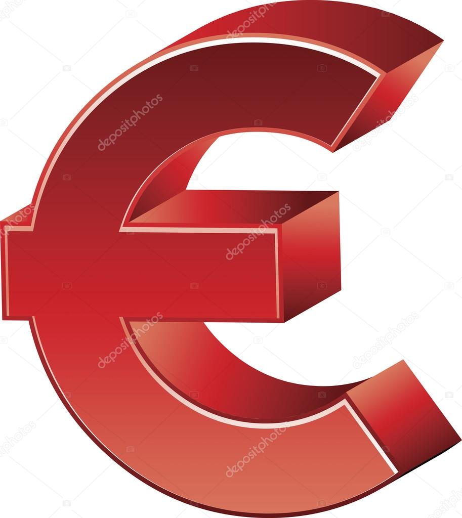 Red Euro Currency Symbol Stock Vector Kozzi2 108274974