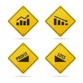 ekonomika ikona na žlutou značku vektor
