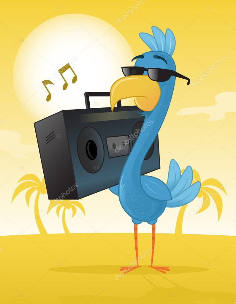 vector image of a bird listing music.