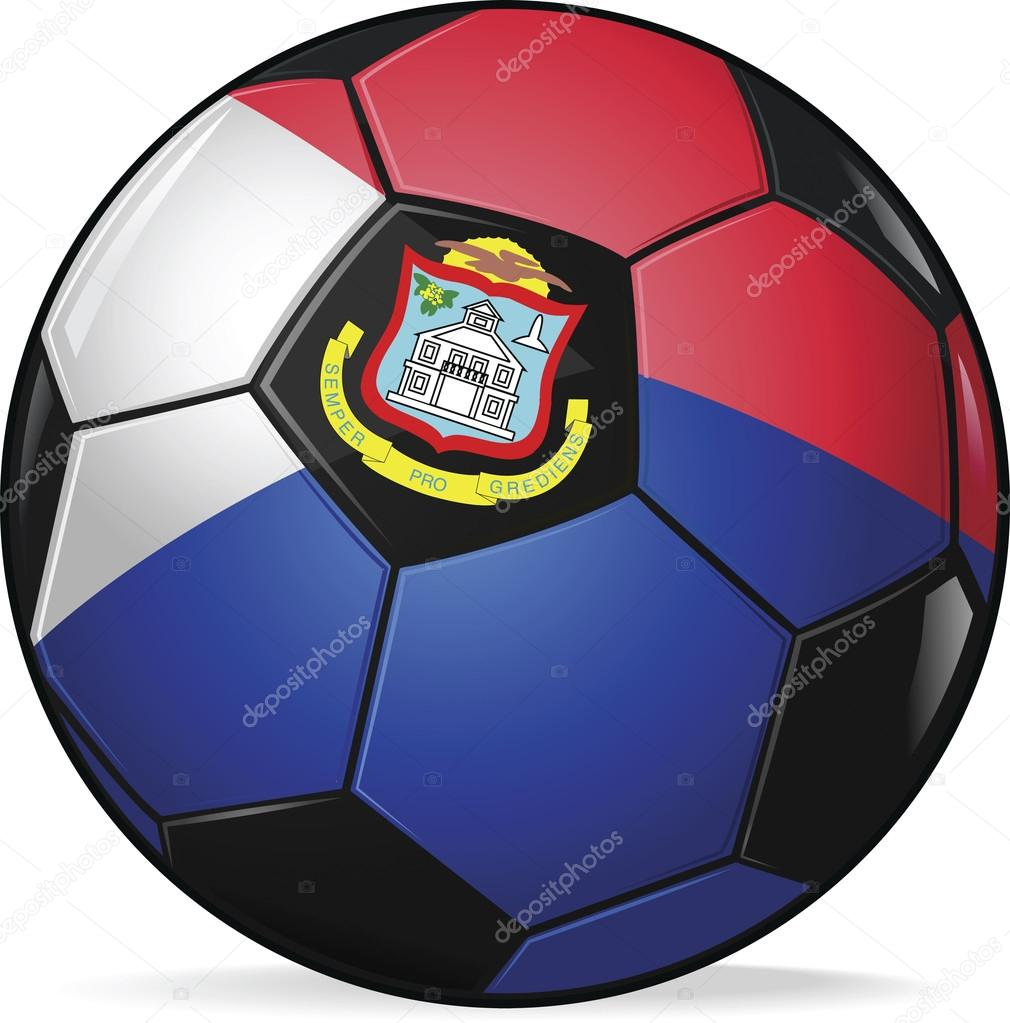 vector image of red and blue sint marteen football.