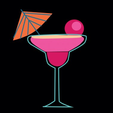 vector retro drinks isolated on black background