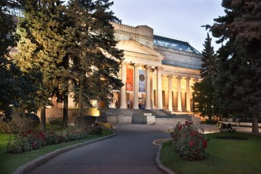 Pushkin museum of fine arts in Moscow at night