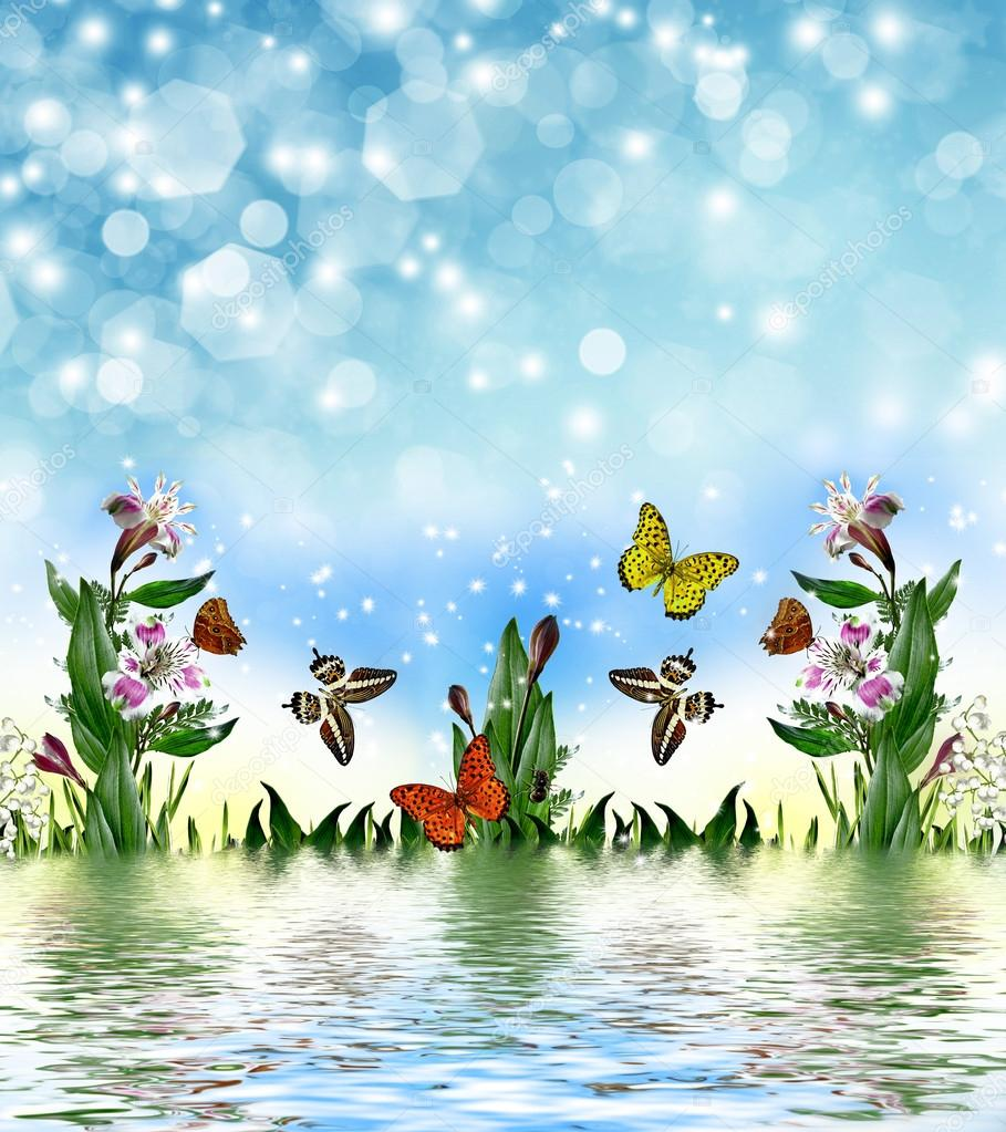 Summer flowers and butterflies on a background of blue sky