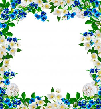 frame from flowers roses, jasmine and forget me