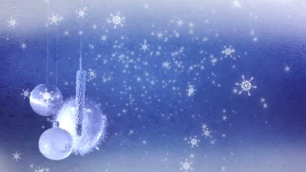 Vánoční dekorace a padající sněhové vločky