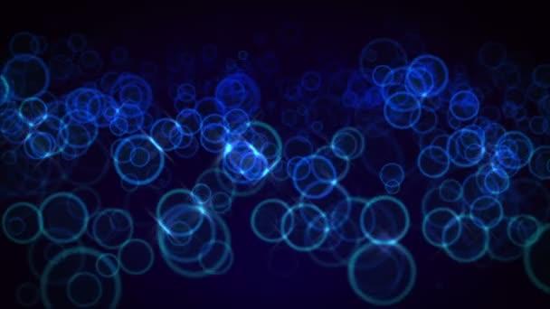 modré kruhy, plovoucí v prostoru