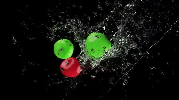 Water splashing apples