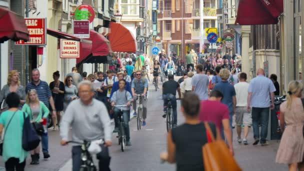 pedestrians and bikes in Amsterdam