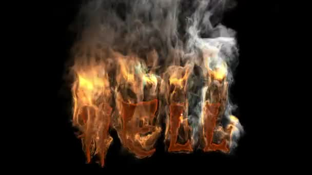 Letters forming Hell word burning