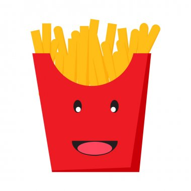 French fries icon cartoon on white background vector. icon