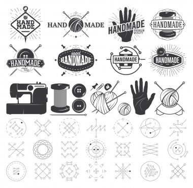 Vintage Hand Made logo, Labels, Badges and Design Elements