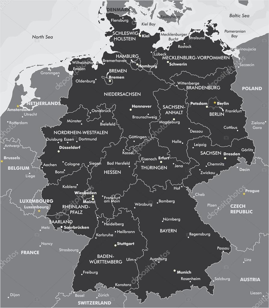 f2fac96a236368 Schwarz   weiß-Karte von Deutschland — Stockvektor © Max 776  60353845