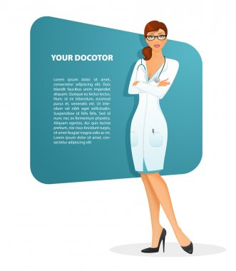 Vector illustration of Doctor woman character image clip art vector
