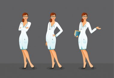 Vector illustration of Doctor in various poses clip art vector