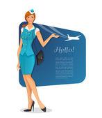 Mädchen in Uniform der stewardess