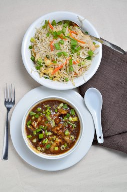 Cauliflower or Gobi Manchurian and Fried Rice