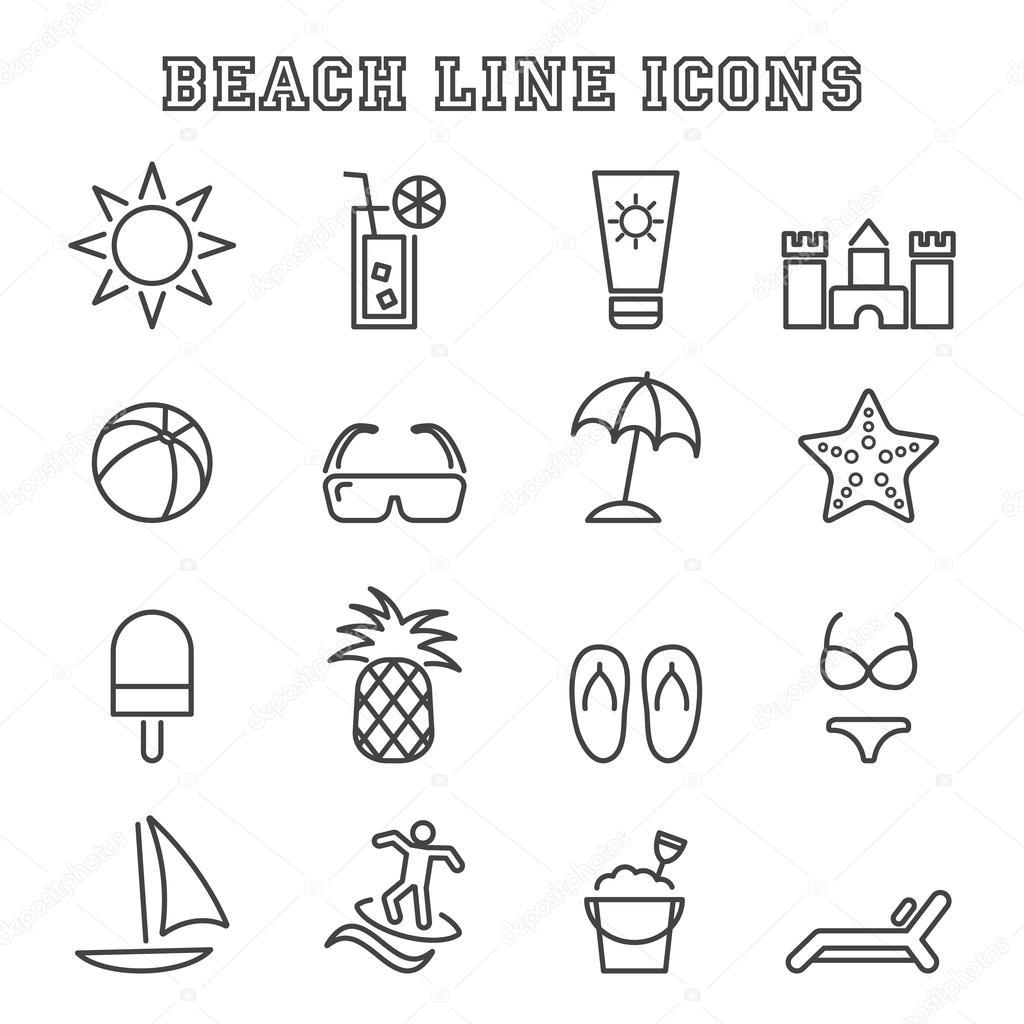 beach line icons