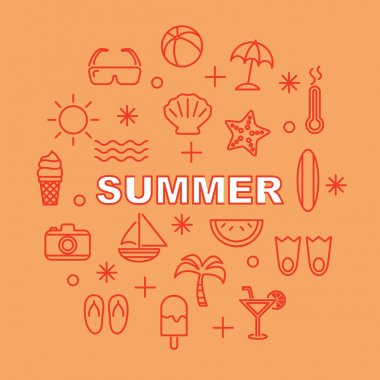 summer minimal outline icons