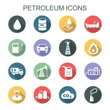petroleum long shadow icons