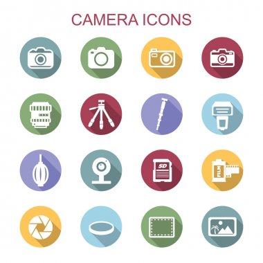 camera long shadow icons