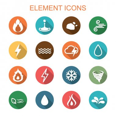 Element long shadow icons, flat vector symbols clip art vector