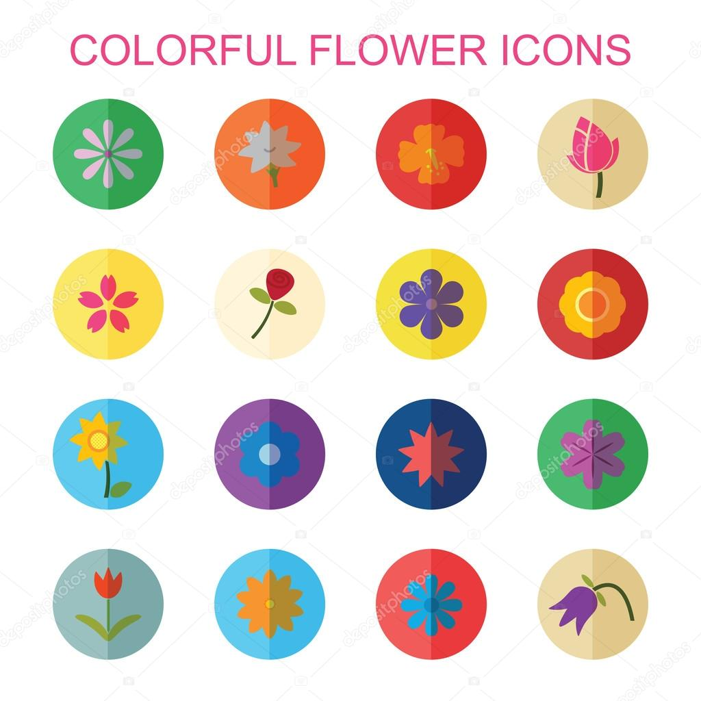 colorful flower icons with shadow